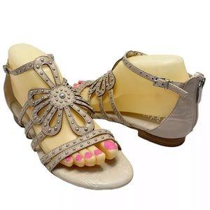 Reba Cream Studded Ankle Strap w/ Flower Design 7M